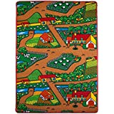 [Mybecca]Mybecca Kids Rug FARM 2 Area Rug Area Rug 5' x 7' Children Area Rug for Playroom & Nursery Non Skid Gel [並行輸入品]