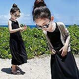 JDLXMD 子供服 ワンピース ドレス ブラック フォーマル ノースリーブドレス 女の子長スカート110 120 130 140 150 160 165cm (150cm)