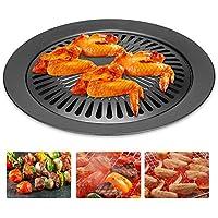 BBQグリルパン,Smokeless Stovetopステンレススチールカードタイプノンスティック調理パンラウンド形状セラミック