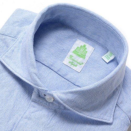 (フィナモレ)Finamore 製品洗いコットンオックスフォードシャツ『SIMONE』 (サックスブルー) メンズ