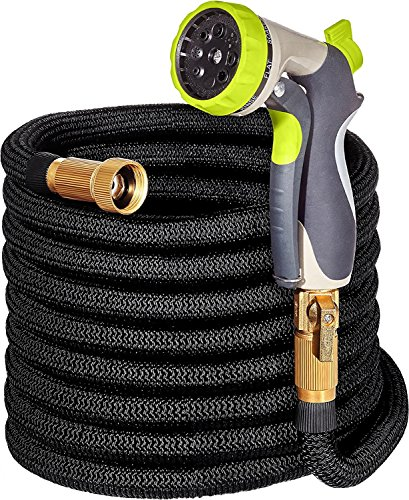 Flex Hose 50ft/15M, Strong Expandable Hose with 9 Function Nozzle, Light Weight, Enhanced Triple Layer Garden Hose Protection