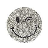 ストーン ワッペン アイロン接着 縦5.9cm×横5.9cm ウインク スマイル すまいる smile にこちゃん ニコちゃん キャラクター キラキラワッペン アイロンワッペン (シルバー)