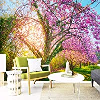 Wuyyii ロマンチックなチェリー3D壁画壁紙新鮮な牧歌的なスタイルインテリアフラワーデザインの壁紙リビングルームの背景壁3D家の装飾-400X280Cm