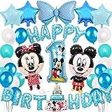 1歳誕生日飾り 可愛いミッキーミニー ブルー ディズニー HAPPY BIRTHDAYバルーン スターアルミ ラテックスバルーン 男の子 子供 100日 半歳 1歳 誕生日パーティー飾り イベント飾り 部屋装飾