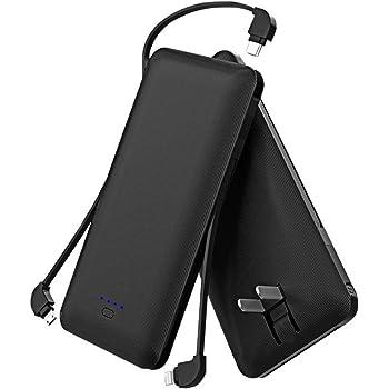 モバイルバッテリー 大容量 (10000mAh 3つケーブル内蔵 1USBポート 折り畳みプラグ)急速充電 軽量 薄型 コンセント iPhone&iPad&Android各種対応