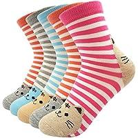 レディースソックス コットン100% かわいい猫の靴下 動物キャラクター オシャレで足にフィット 五足セット