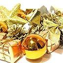 オシャレ かわいい クリスマス ツリー リース 用 オーナメント 飾り オレンジ ゴールド 24個 セット ボール リボン 星 松ぼっくり プレゼント (d.オレンジ 24個セット)