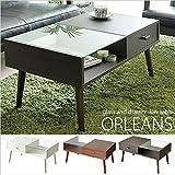 ローテーブル ORLEANS(オリンズ)ガラス天板(センターテーブル ガラステーブル リビングテーブル カフェテーブル) ホワイト