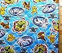 <Qキャラクター キルティング生地>ポケットモンスター 劇場版 (ブルー)#98(キルティング キルト キャラクター キルティング生地 布 入園 入学 ピロル)