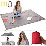 Sand Free Beach Blanket/Packable Pocket Blanket 55 X 80 - Outdoor Waterproof Ground Cover,Sand Proof Picnic Blanket for Hikin