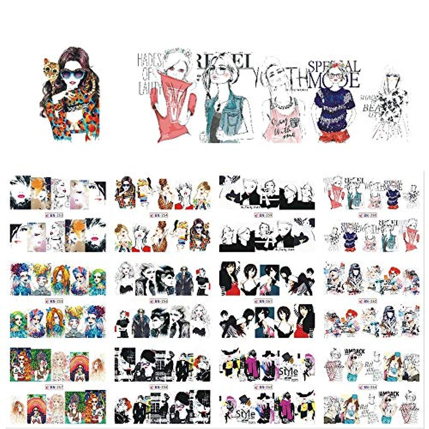 一月黒板つづりSUKTI&XIAO ネイルステッカー 12枚のセクシーな漫画の女性のネイルアートデカールチャーム水転写混合デザインDIYフルステッカーネイルデカール