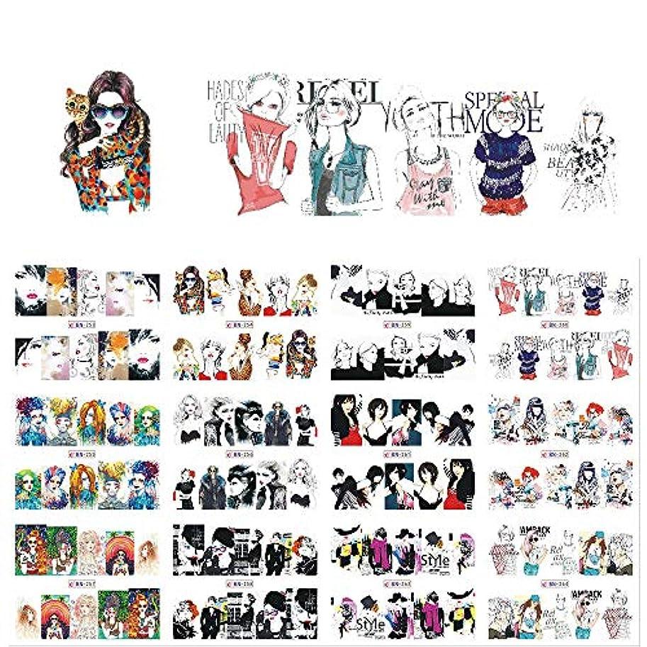 夜家事をする有能なSUKTI&XIAO ネイルステッカー 12枚のセクシーな漫画の女性のネイルアートデカールチャーム水転写混合デザインDIYフルステッカーネイルデカール