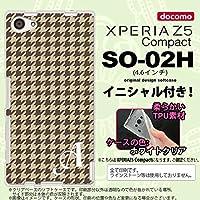 SO02H スマホケース Xperia Z5 Compact カバー エクスペリア Z5 コンパクト ソフトケース イニシャル 千鳥柄 茶 nk-so02h-tp910ini U