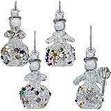 BANBERRY DESIGNS Glass Snowman - Set of 4 Assorted Styles of Hanging Spun Glass Glittered Snowmen - Snowmen Decorations - Gla