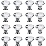 16Pcs 30mm Crystal Glass Cabinet Knobs Clear Diamond Shape Drawer Pull Handle with Screws for Cupboard Drawer Dresser Door Ki