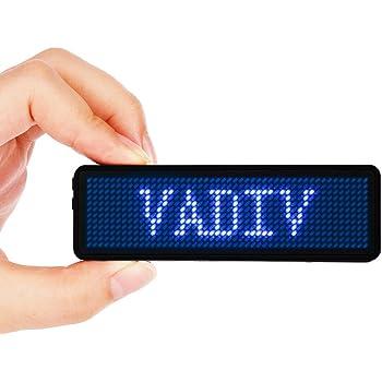 LEDネームプレート VADIV 電子名札 LED電光掲示板 日本語など15カ国語・絵文字対応 温度表示 輝度調節 48*12pixels ブルー