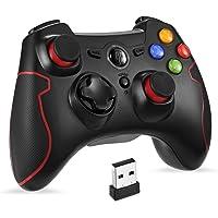 EasySMX 無線ゲームパッド PC/PS3/Androidに対応 振動連射設定 パソコンゲームコントローラー(ブラッ…