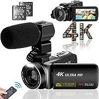 ビデオカメラ 4K YouTubeカメラ3000万画素 デジタルビデオカメラ ユーチューブカメラ 外付けマイク LEDフ…