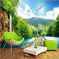 Lixiaoer 風景滝木製橋3D風景壁紙カスタム背景壁画リビングルームロビー壁紙壁画-350X250Cm
