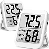 Humidity Gauge, 2 Pack Max Indoor Thermometer Hygrometer Humidity Meter Humidity and Temperature Monitor with Dual Sensors fo