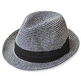 (エッジシティー)EdgeCity 折りたたみ可能! 大きいサイズ 大きい メンズ レディース 麦わら帽子 ストローハット 000319-0000 (3S/52cm, 15/ネイビー【ミックス】)