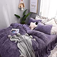 ふわふわ 暖かい 布団カバー シーツ 枕カバー セット (パープル, セミダブル)