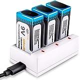 Keenstone 9v 電池 充電式 3個セット9v充電池 800mAh 006p エネループ カメラ/時計/ラジオ/おもちゃ/ギター/屋内煙探知機対応 3ポート充電器とUSBケーブル付き
