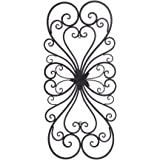 Adeco Black Scrolled Flower Metal Wall Decor - Art Oblong Living Room Home Decoration - 28.5x13.2 Inches