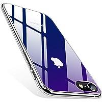 TORRAS iPhone8ケース iPhone7ケース iPhoneSEケース(第2世代) 4.7インチ 対応 9H 背面強化ガラス 日本旭硝子製 高透明 三層構造 黄変防止 四隅滑り止め ストラップホール付き(グラデーション ブルー)[ Fancy Series]