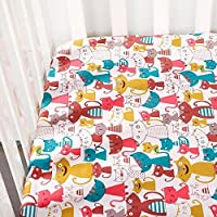 Crib Sheet Toddler Sheet 1 Pack 100% Cotton for Baby Cat pattern Crib Sheet by UOMNY [並行輸入品]