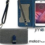 閉じたまま通話ケース 携帯カバー 手帳型 motorola カバー Moto Z2 Play ケース 手帳 カルネカバー VESTA & ロングストラップ グレー s..