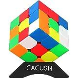 CACUSN 競技用キューブ ステッカーレス スタンド付き 脳トレ プレゼント 3×3