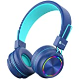 iClever Kids Headphones Bluetooth - Colorful Lights Headphones for Kids with MIC, Volume Control Foldable - Childrens Headpho
