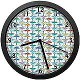 雨の日傘のパターン漫画風雲のカラフルなモチーフ積雲デザインユニークな装飾的な時計の壁の装飾25センチ直径とフレームの家