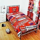 アーセナル フットボールクラブ Arsenal FC オフィシャル パッチ 掛け布団カバー・枕カバーセット サッカーべディングセット (イギリスダブル) (レッド)
