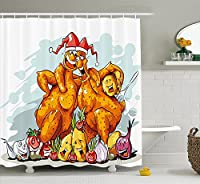 """面白いシャワーカーテンby Ambesonne、クリスマスRoasted Turkey Buddies Celebration文字Xmas Holidayテーマ、ファブリックバスルームDecorセットwithフック、Seafoamダークオレンジ 69"""" W By 70"""" L sc_38566"""
