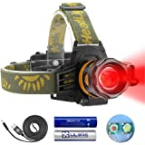 Headlamp Red and White Light, LED Headlamp 4 Modes, Waterproof Super Bright Adjustable Zoomable Flashlight for Hunting, Fishi