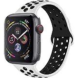 METEQI バンド 対応 Apple Watch, シリカゲルバンド スポーツシリコンストラップリストバンド交換バンド柔らか運動型 M/L Series 6/5/4/3/2/1/SE (42MM/44MM, ピュアホワイト/黒)