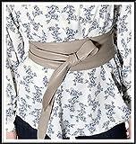 【R.Style】韓国★大人コーデのための本革サッシュベルト♪高級感漂うラムレザーのしっとり肌艶/12色 (グレージュ)