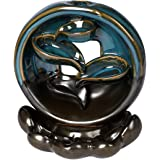 Incense Burner Rounded Waterfall Smoke Backflow Ceramic Cone Holder + 10 Cones