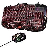 キーボード&マウスセット ゲームに最適 人間工学な3カラバックライト付きUSB有線ゲーミングキーボード+マウス  Windows 98/XP/2000/ME/VISTA/Win7/Win8