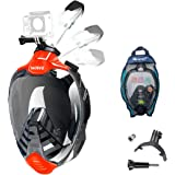 Full Face Snorkel Mask, Diving Mask with 180° Panoramic View Dual Airflow Breathing Technology with Detachable Camera Mount,