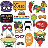 Fiesta Photo Props ( 32ピース) forフォトBooths、自撮り、Great for Cinco De Mayo、テーマDay of the Deadパーティand More 。パーティーFavorsプリメイド?ケーブルare ( Not DIY ) for your利便性。