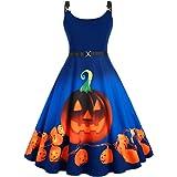 ROSE GAL Women's Plus Size Straps Pumpkin Print Halloween Vintage Dress