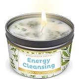 Manifestation Candle White Sage Leaf & Scent, Smudge Candle for House Energy Cleansing, Banishes Negative Energy I Purificati