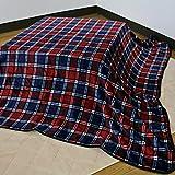 こたつ 中掛け毛布 長方形 185×235cm チェック柄 レッド系 フランネル素材 (216-CM-235)