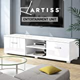 Artiss TV Unit 140cm Length Entertainment Unit High Gloss TV Cabinet Stand Cupboard, White