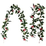 AKSIPO 2 Pack Red Berry Christmas Garland Artificial Christmas Vines Long Rattan Holly Leaves Xmas Garland for Fireplace Tabl