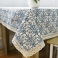 Eplze テーブルクロス 長方形 綿麻布 復古 青花瓷 北欧風 多用途 (140cm* 100cm)
