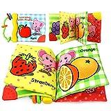Coolplay 布絵本 カシャカシャ 赤ちゃん ソフトブック 布の絵本 出産祝い 果物の認識